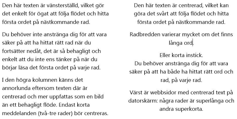 Exempel på vänsterställd och centrerad text