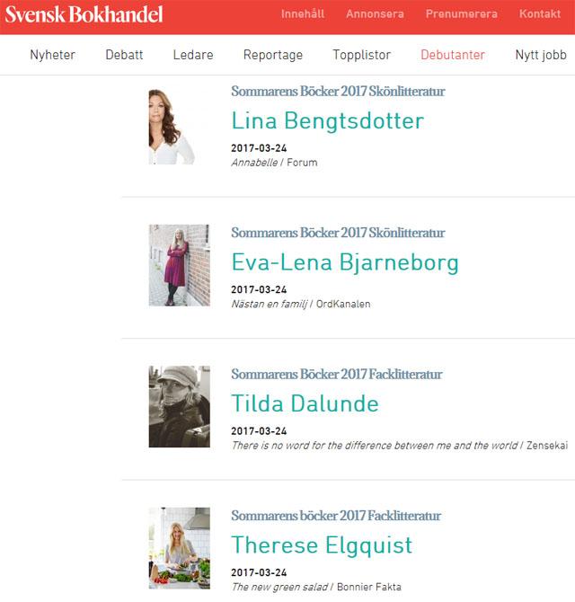 Svensk Bokhandels hemsida, skärmdump